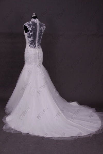 Modest mermaid lace backless wedding dresses cap sleeves