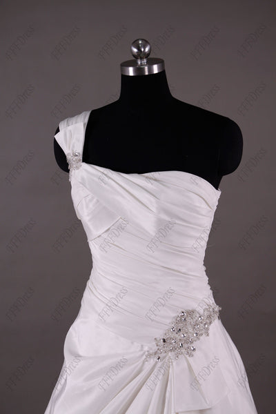 One shoulder classic ball gown wedding dresses with beaded accent