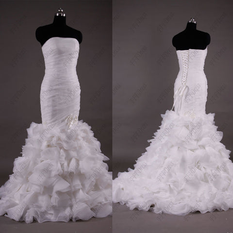 Mermaid tiered ruffles wedding dress with hand made pedals