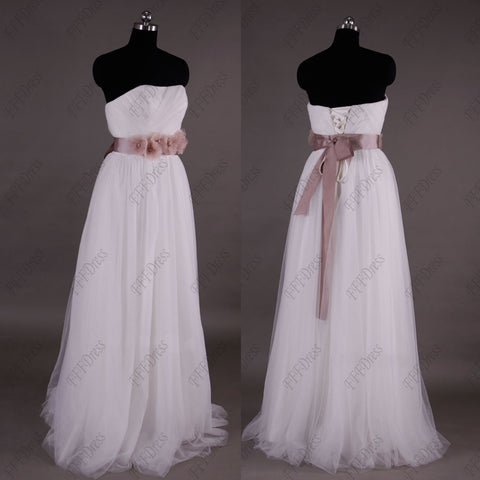 Strapless beach wedding dress with blush color sash