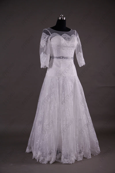 Modest lace wedding dress with sleeves church wedding dress