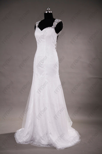 Hand beading backless wedding dress beach wedding dress
