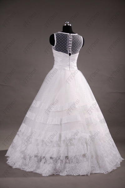 Ball gown dotted wedding dresses with wide trims