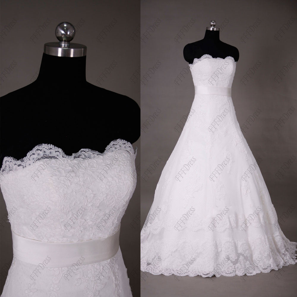 Scalloped lace Fitted A Line Wedding Dresses