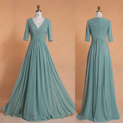 Modest sage bridesmaid dresses elbow sleeves