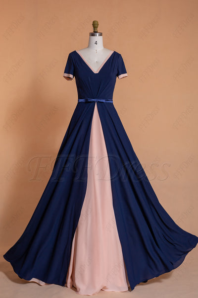 Navy & Blush Modest Bridesmaid Dresses with Short Sleeves