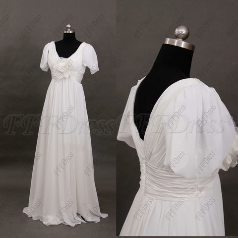 V Neck Beach Wedding Dress with Sleeves Chiffon wedding dresses