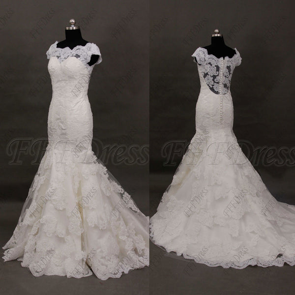 Boat neck lace mermaid wedding dresses