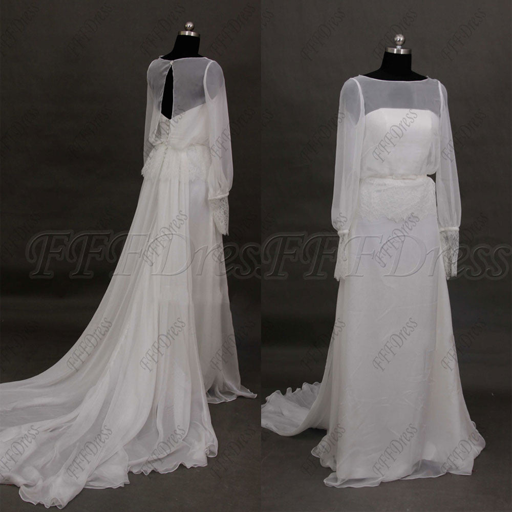 a5c04d51b Chiffon beach wedding dresses long sleeves Grecian wedding dress
