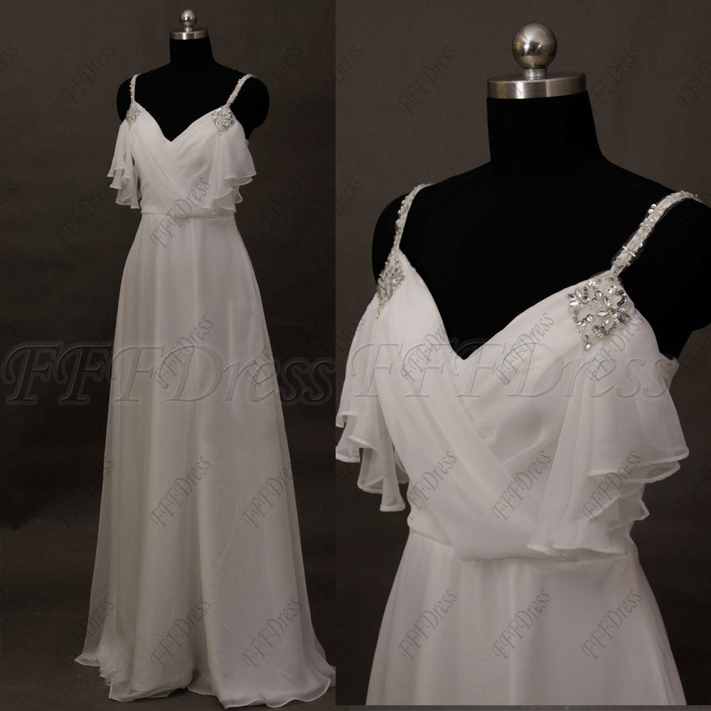 Beaded Spaghetti Straps Chiffon Wedding Dress Beach Wedding Dresses