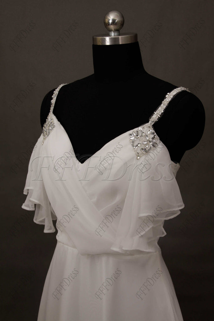 30a4a848d ... Beaded Spaghetti Straps Chiffon Wedding Dress Beach Wedding Dresses ...