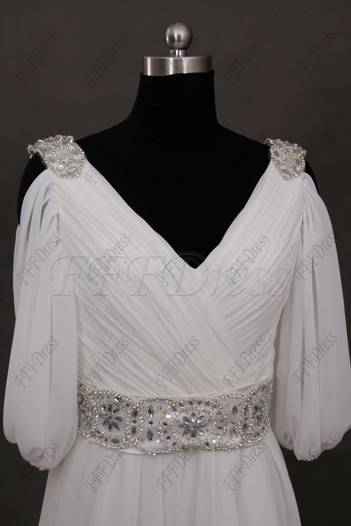 5f9f69ab1 ... Beaded beach wedding dress with sleeves chiffon wedding dresses ...