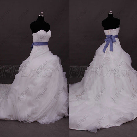 Ball gown swirls wedding dress with blue sash