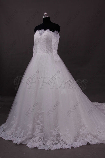 Ball gown off the shoulder lace wedding dresses with sleeves
