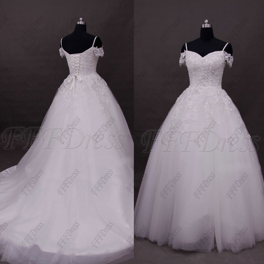 Off the shoulder lace ball gown wedding dresses
