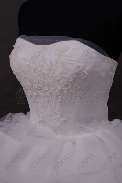 Ball gown wedding dress with wide trim
