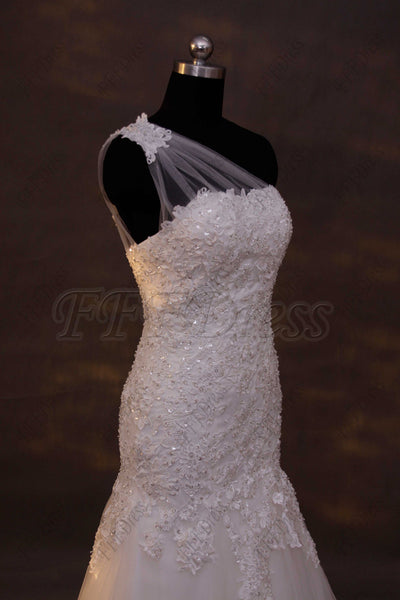 One shoulder beaded lace trumpet wedding dress plus size