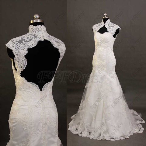 Trumpet lace wedding dress key hole back