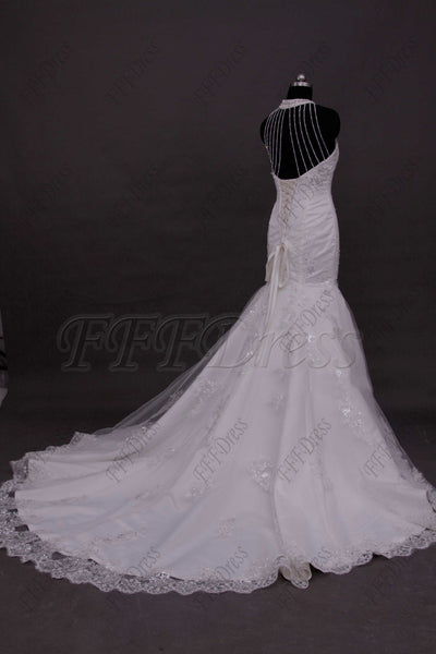 Sweetheart mermaid romantic lace wedding dresses with beadings