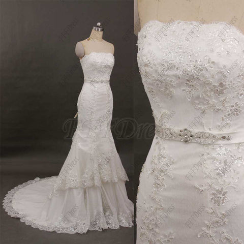 Mermaid lace tiered wedding dresses