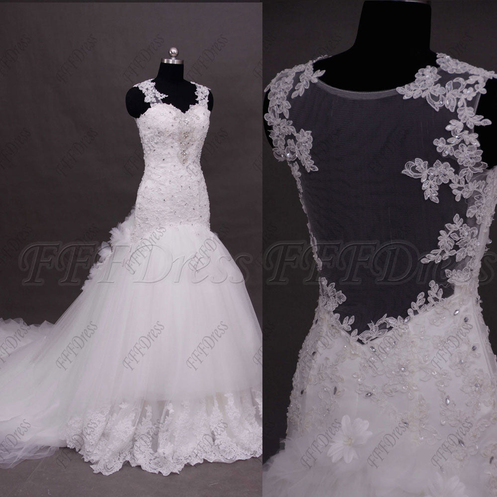 Backless Beaded Mermaid Lace Tiered Wedding Dresses