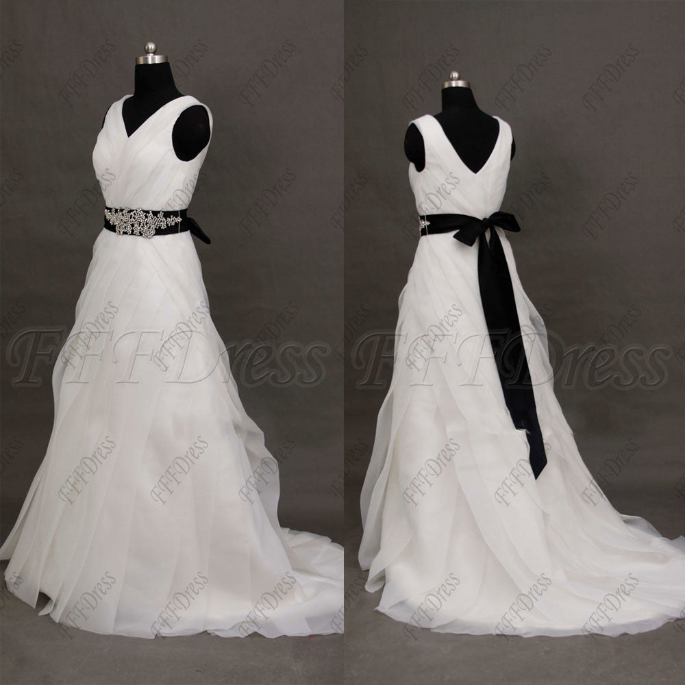 V Neck Plus SIze wedding dresses with beaded black sash