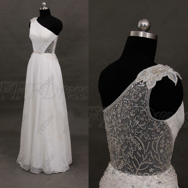 Beaded backless chiffon beach wedding dresses