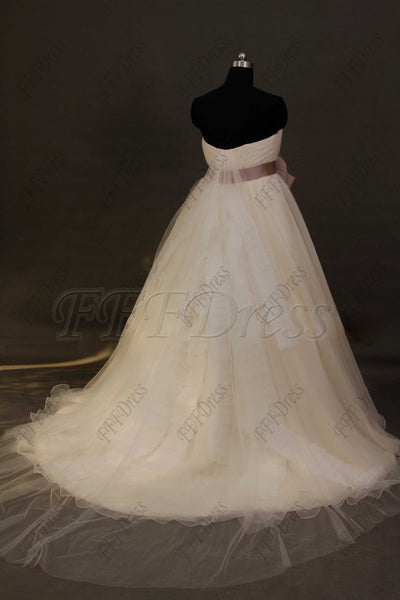 Sweetheart ball gown wedding dress with dusty rose sash