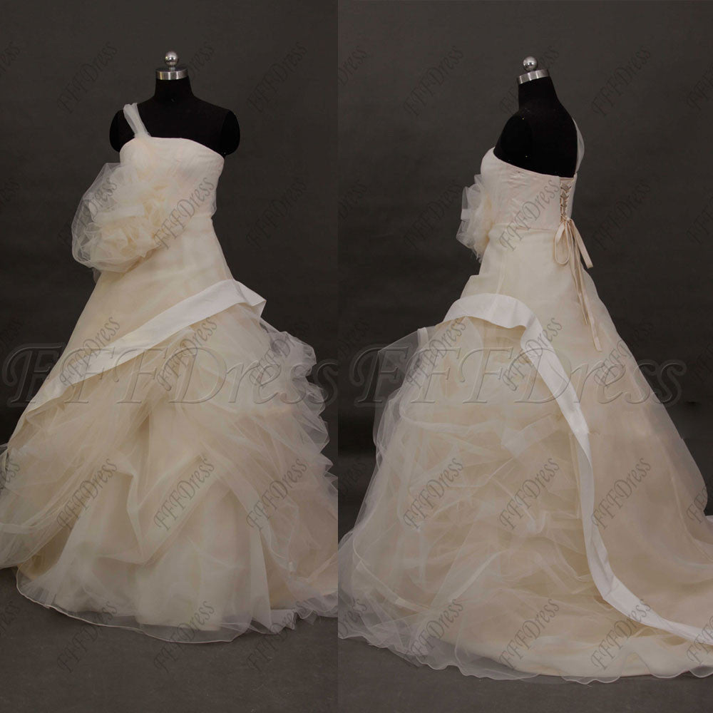 One shoulder caught up ball gown wedding dresses