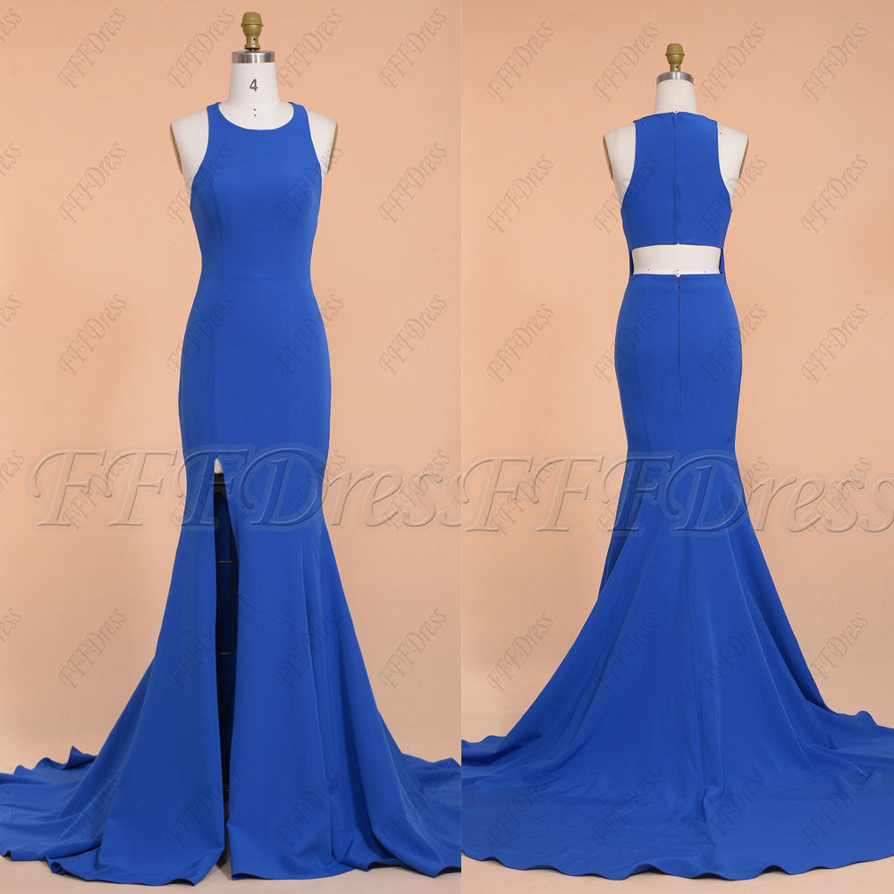 Sapphire blue mermaid long prom dresses with slit cut out