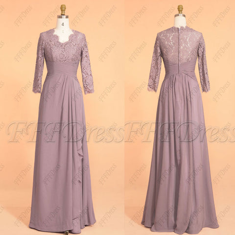 Wisteria modest bridesmaid dresses three quarter sleeves long