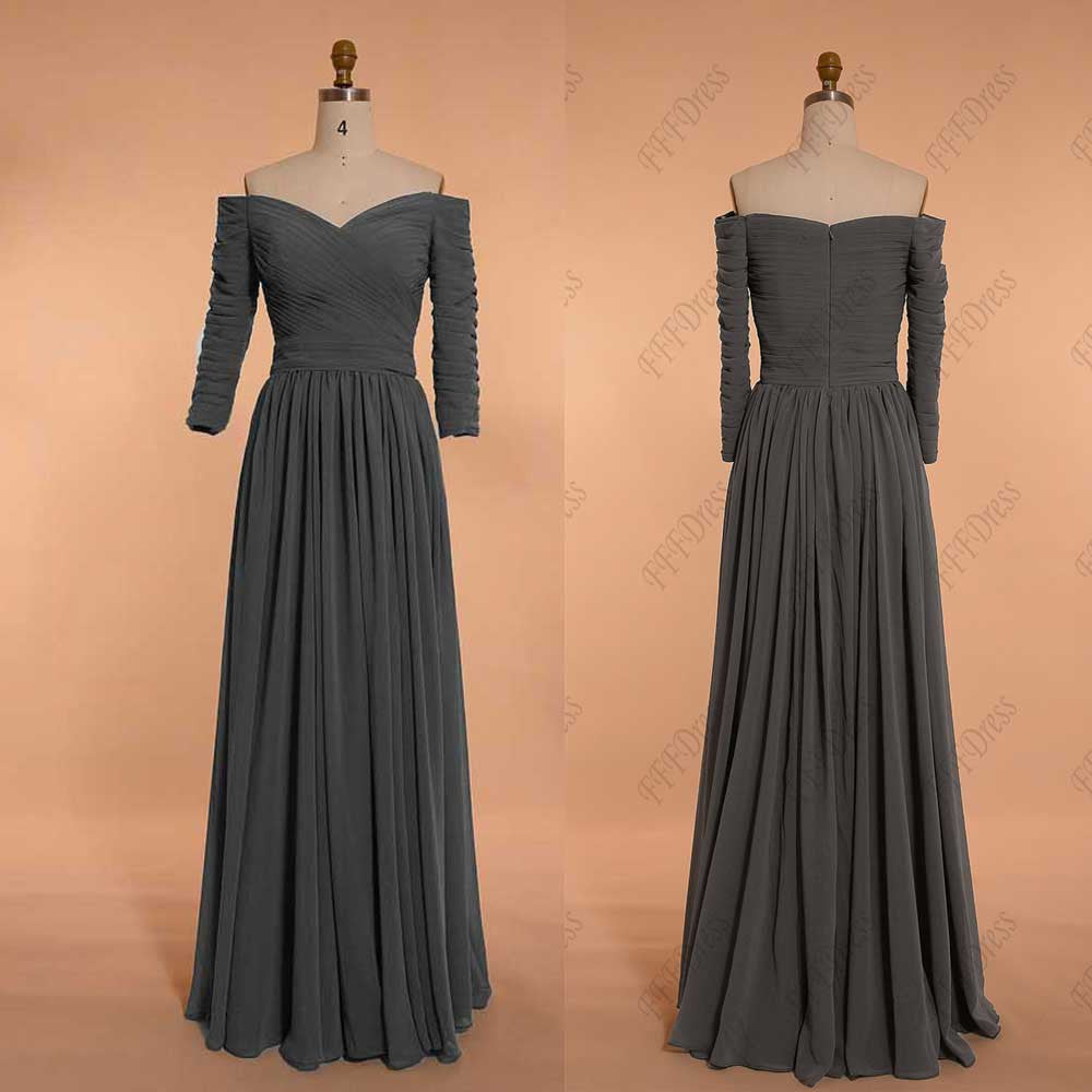 Charcoal grey mother of the bride dress with sleeves plus size evening dresses