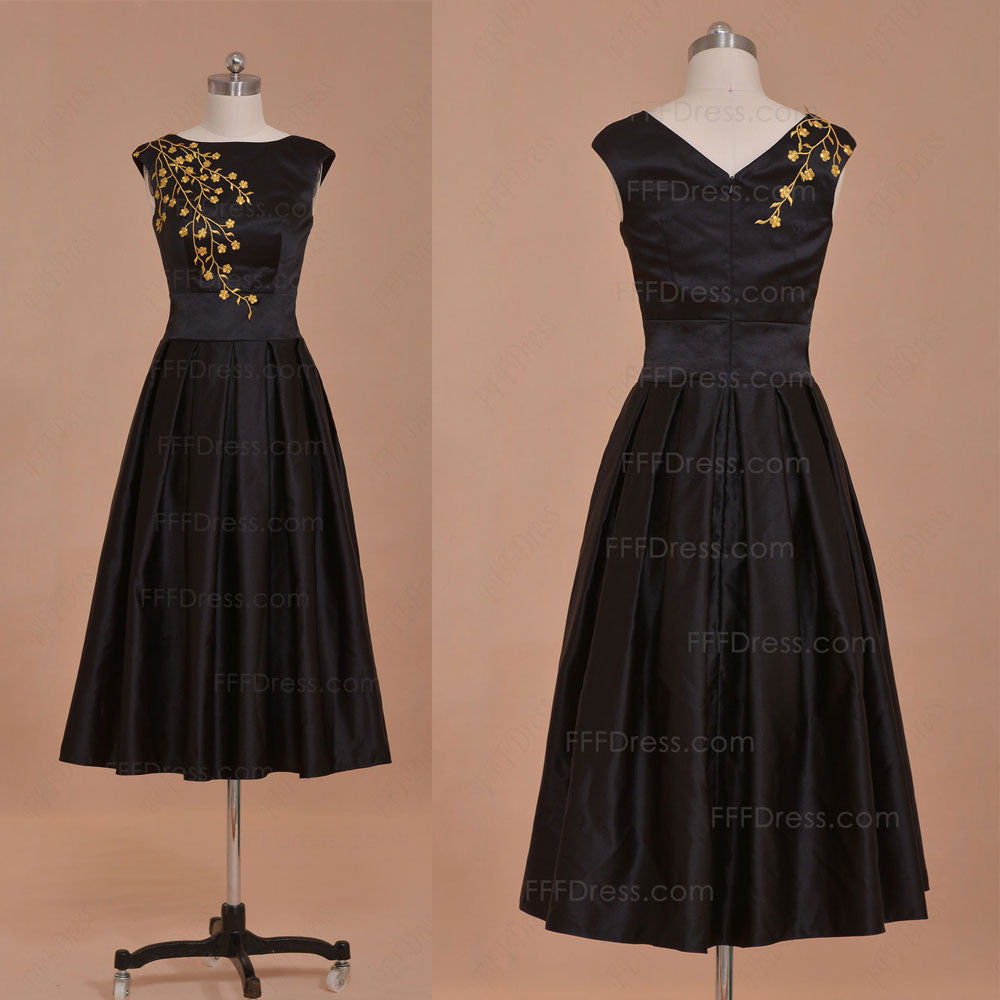 Modest black homecoming dress tea lengthn prom dress
