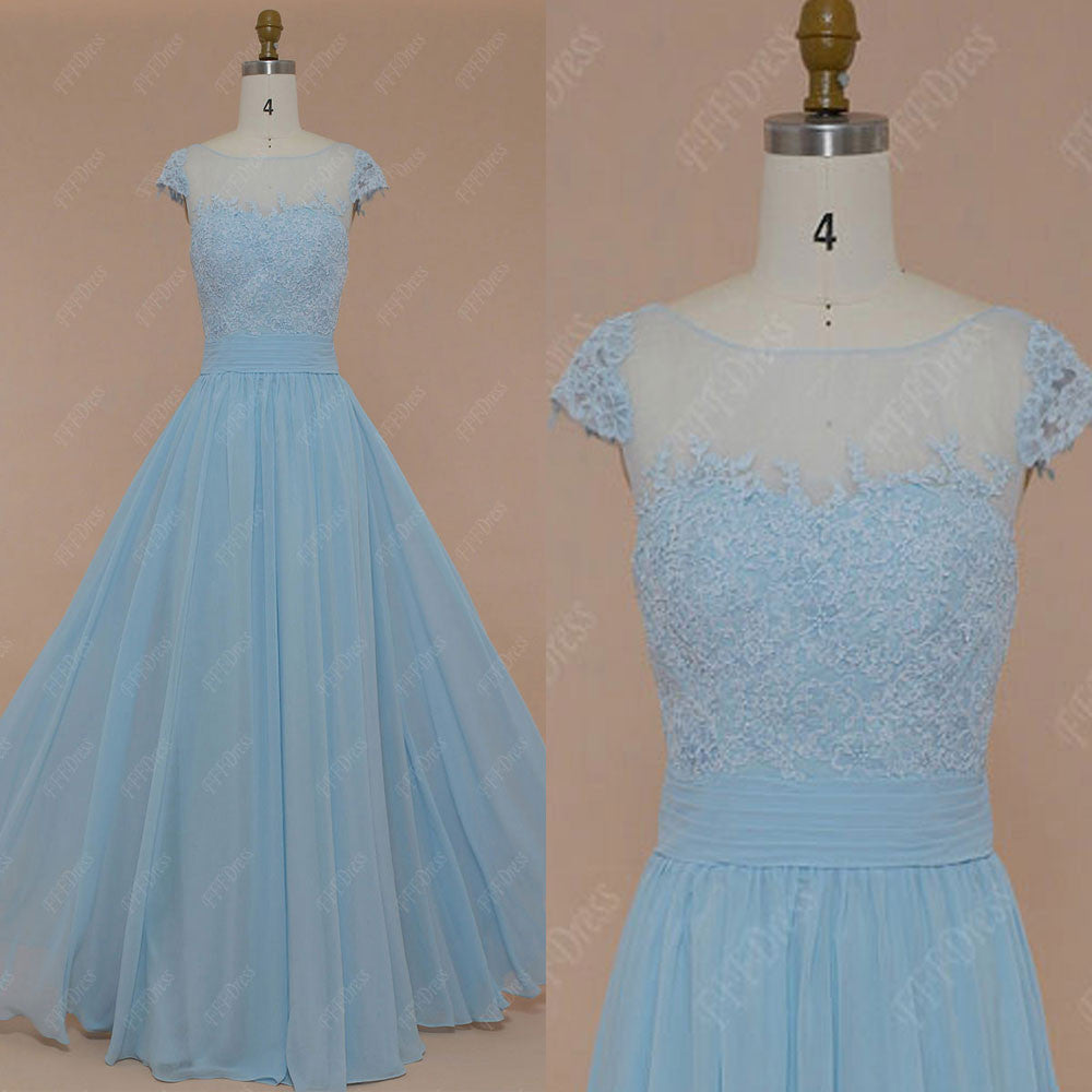 Ice blue lace modest prom dresses long with cap sleeves – MyPromDress