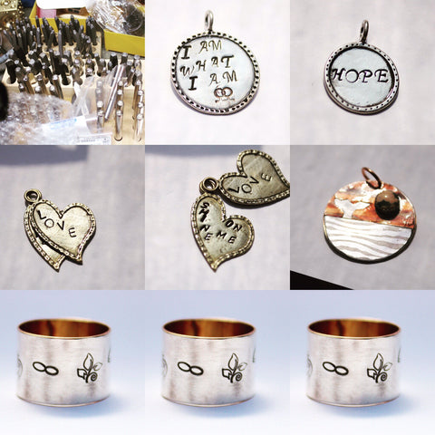 Personalized stamped metal jewelry comes in all shapes