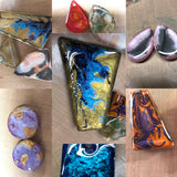Colorful, hand painted resin jewlery