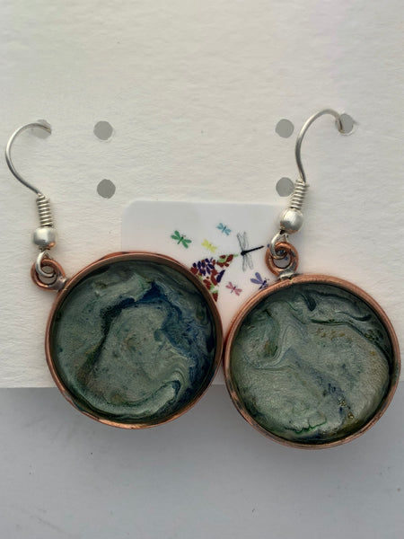 Unique hand painted earrings in resin