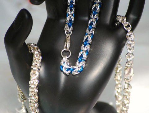 Handmade Chainmaille bracelets woven from metal rings into stunning patterns