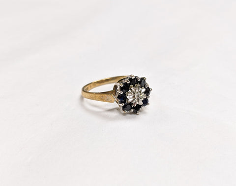 Diamond and Midnight Sapphire Ring