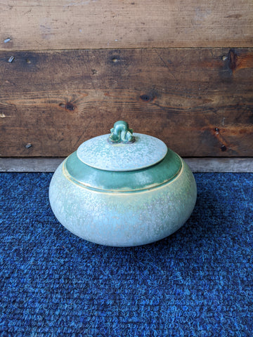 1920s Art Deco Green Pot