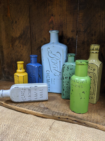 Hand-Finished Vintage Painted Glass Bottles