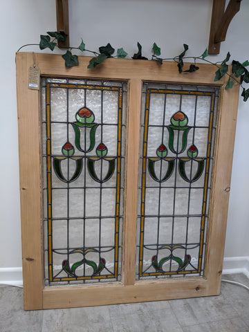 Victorian Double Stained Glass Window
