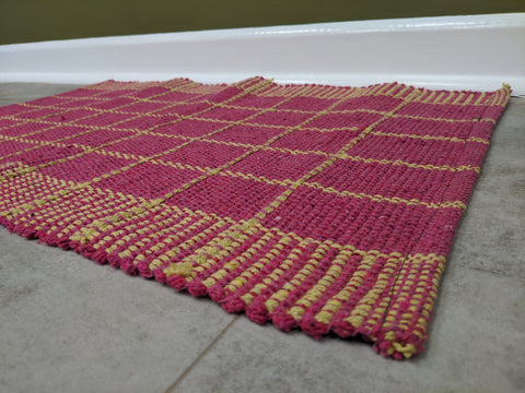 Pink And Beige Woven Rug