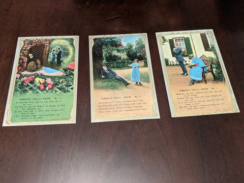Set of Three Vintage Breakup Series Postcards