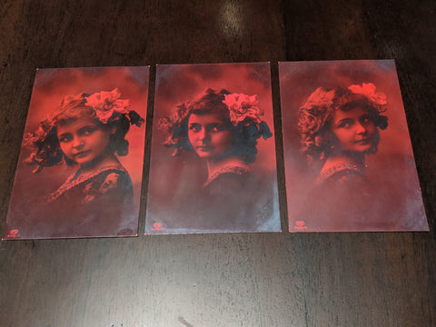 Set of Three Vintage Red Portrait Postcards