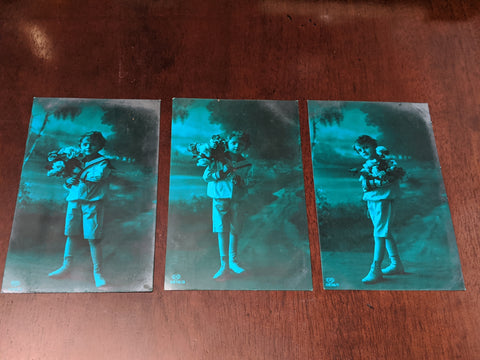 Set of Three Vintage Green Portrait Postcards