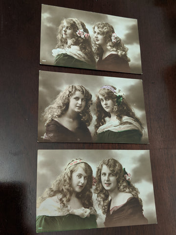 Set of Three Vintage Double Portrait Postcards