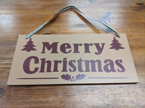 Rustic Merry Christmas Hanging Plaque