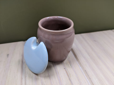 Blue & Brown Mustard Pot by Langley