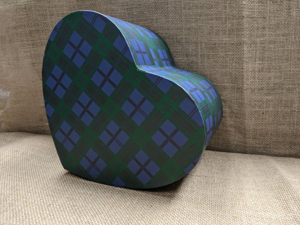Blue Tartan Heart Shaped Box